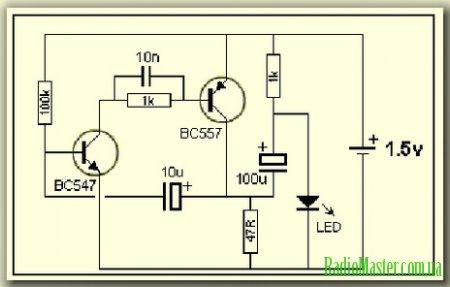 Схема светодиодной мигалки